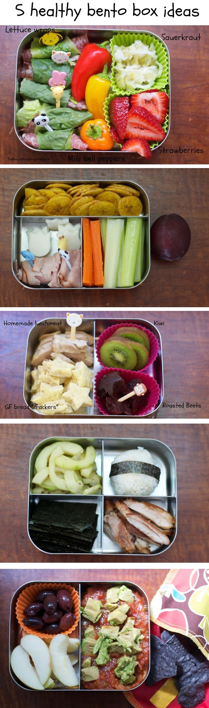 Bento boxes are a fun way to add #healthy variety to lunches. Here are five ideas (go to the post for all of the #recipes!) that are kid-friendly, and #glutenfree too!
