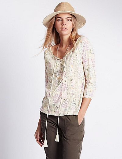 3/4 Sleeve Floral Swing Top with Modal | M&S