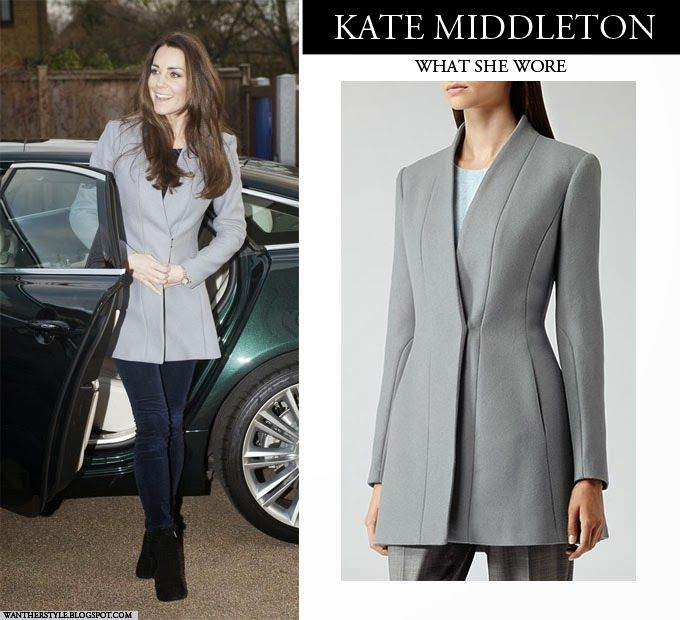Kate Middleton Duchess of Cambridge in grey flare Reiss coat, skinny jeans and ankle boots Winter Outfit