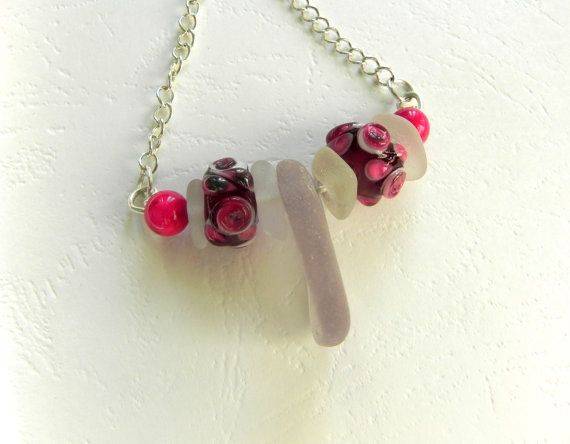 Glass Pendant.  Sea Glass & Glass Beads Pink by AnnieByDesignAus, $20.00