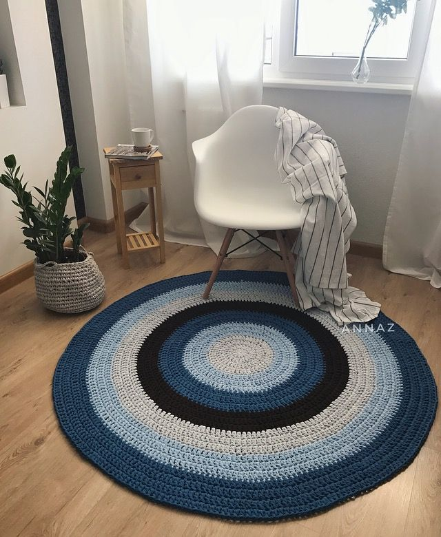 Navy blue, blue and beige striped crochet rug, tshrt yarn, stylich scandinavian home
