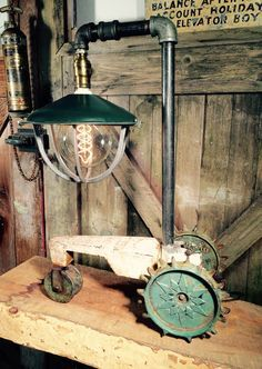 A personal favorite from my Etsy shop https://www.etsy.com/listing/269297783/upcycled-craftsman-sprinkler-tractor Steampunk-farmhouse-rustic-lamp-light-vintage industrial. Repurposed