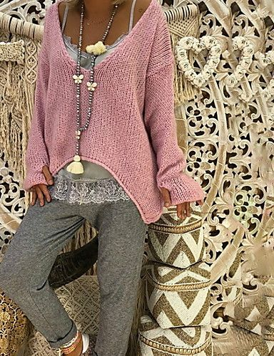 Women's Daily Oversize Solid Colored Long Sleeve Regular Pullover Blushing Pink / Beige / Gray XXXL / XXXXL / XXXXXL