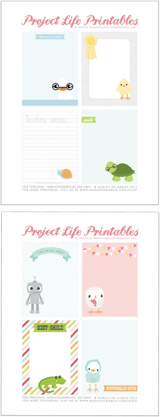 printables that work with the Project Life system, from Mariah DeMarco