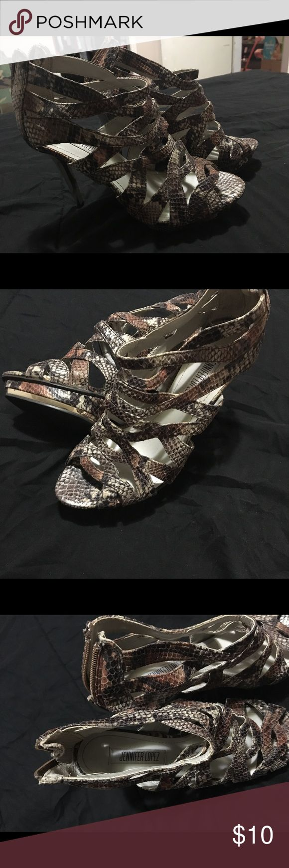 "Jennifer Lopez snakeskin heels Rarely worn, great condition. Gold heel, approx height 5"" Jennifer Lopez Shoes Heels"