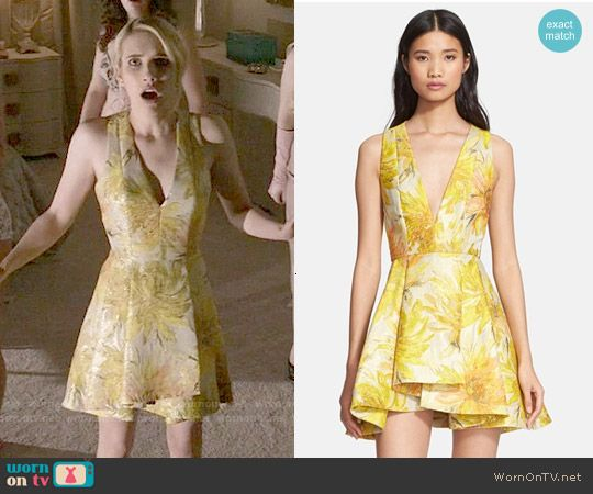 Chanel S Yellow Floral Pleated Dress On Scream Queens