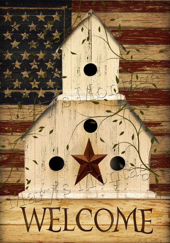 Instant Art    Americana BIrdhouse  8x11 Download by MarysMontage, $4.00