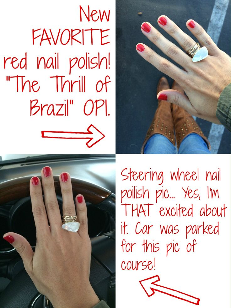 The Thrill of Brazil OPI nail polish. Red nails.