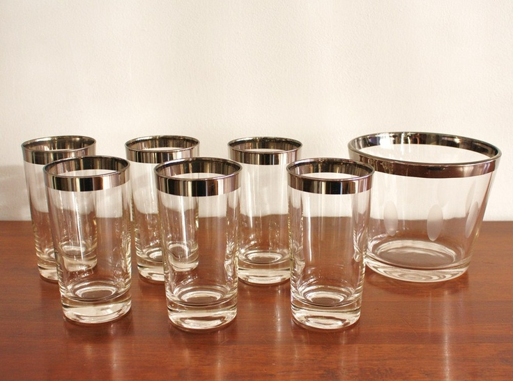 Midcentury set of 6 glasses with matching ice bucket, silver barware. $58.00, via Etsy.