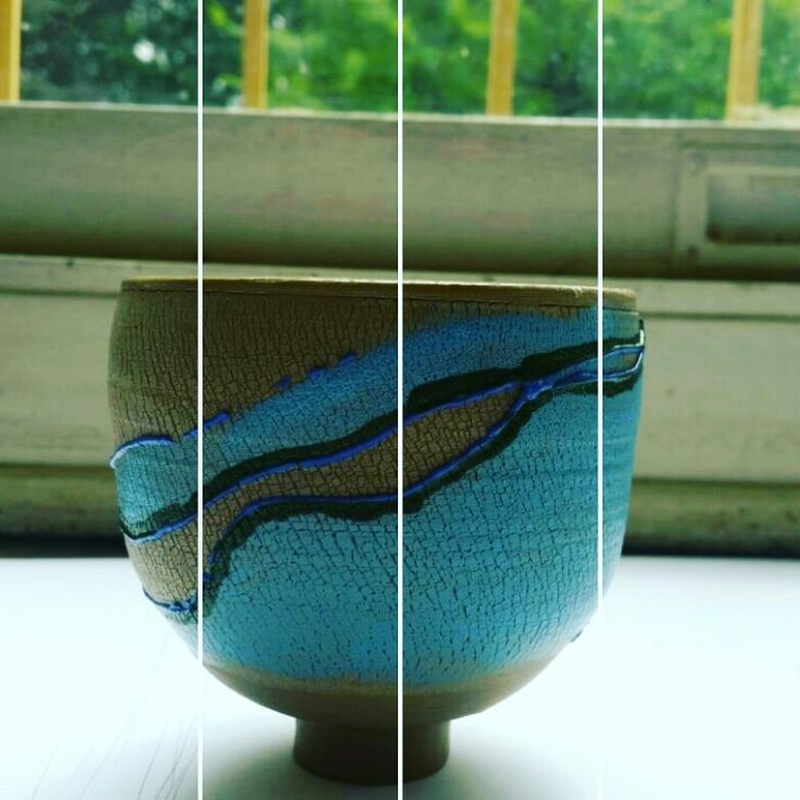 My own ceramic piece. Sodium silicate was used to create crackling texture.  #soblue