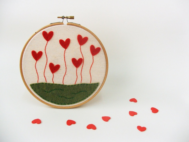 Embroidery hoop wall art - Love blossoms, GREAT WEDDING DECOR - made to order. $28.00, via Etsy.