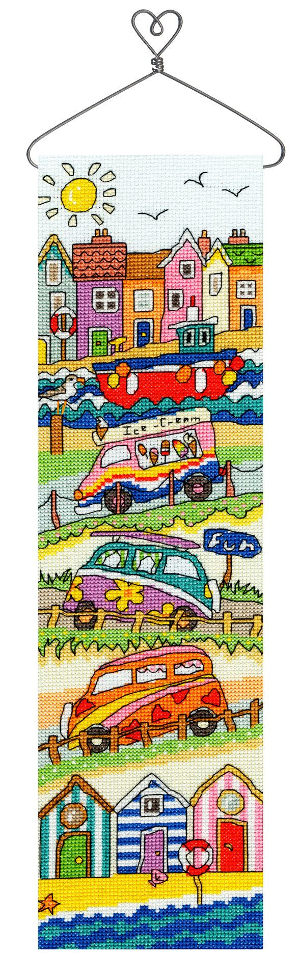 Hang Up Seaside cross stitch kit from Bothy Threads. The kit contains; 14 count Zweigart Aida, pre-sorted stranded cottons, needle, stitch diagrams and instructions. Finished size 11 x 41cm. This kit uses full cross stitches, back stitch and one French knot A brand new kit will be sent directly to you by Bothy Threads - usually despatched same or next working day