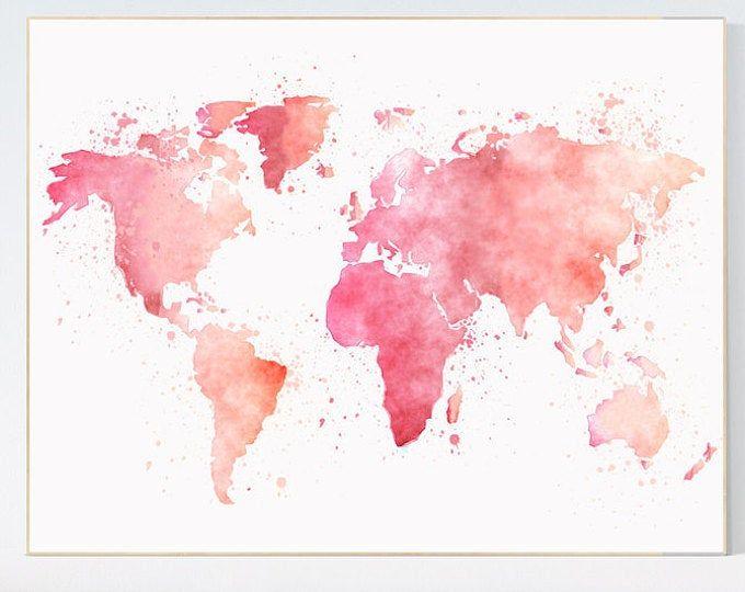 carte du monde fond d écran Pink World Map, watercolor map, baby girl nursery, pink watercolor