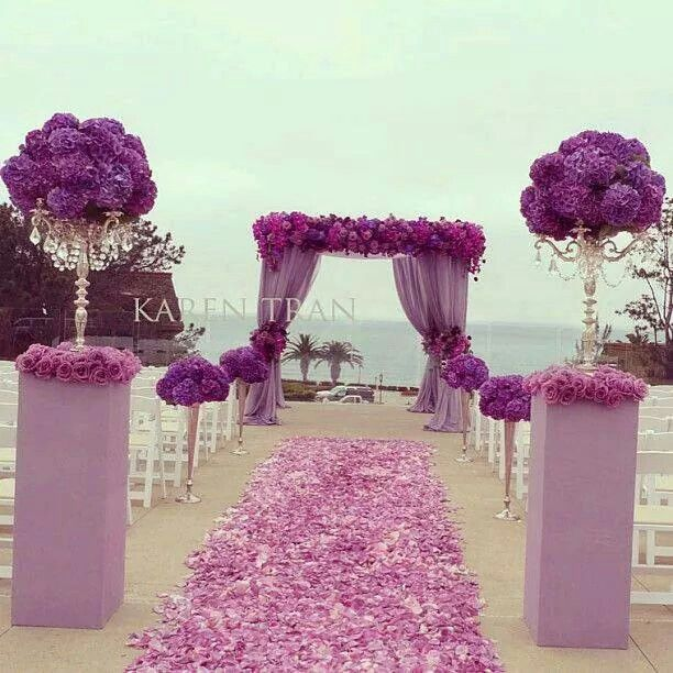 Purple Weddings Ideas: Purple Setting Pink Setting Beach Wedding Outdoor Wedding