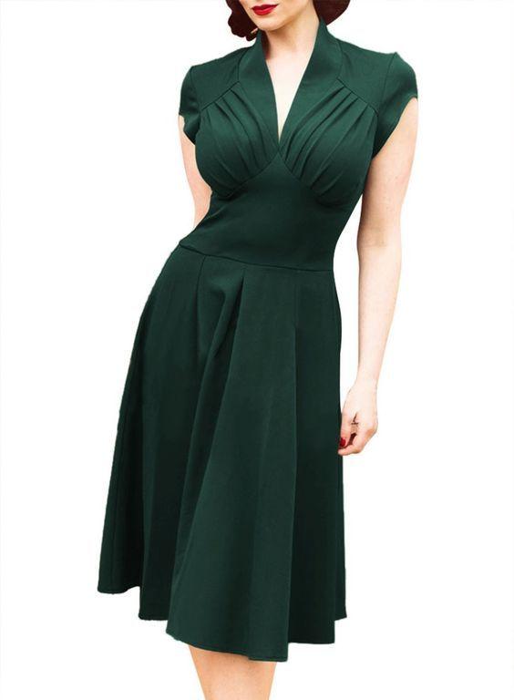 Dress 50s Style 4 Colors 1950s Vintage Rockabilly 60s Clothing Retro Dresses Plus Size Audrey Hepburn Evening Dress