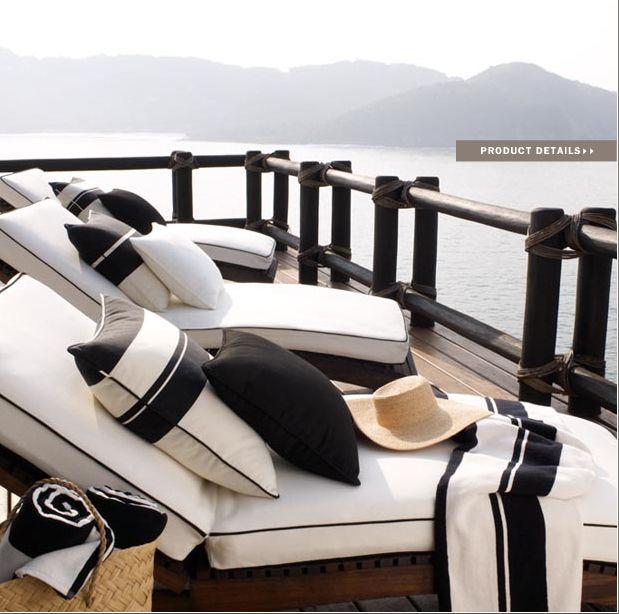 Ralph Lauren Home Black Sands Collection Nautical Black and White Modern Beach Style.        Colour scheme boys pool house. Love the cushions.