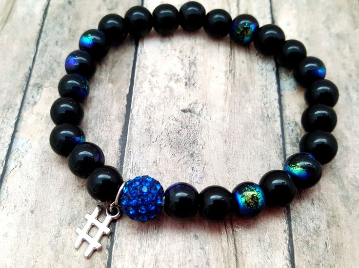 Mens Charm Bracelet, Black Blue Iridescent Hashtag Unisex Stretchy  Bracelet, Unique Gift Ideas for Star Gazers, His Birthday or Anniversary by ChristalDreamz on Etsy