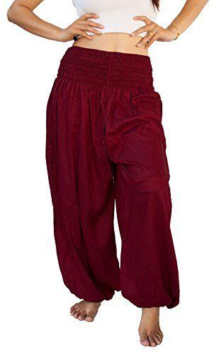 Siam Secrets Unisex Alibaba Harem Beach Yoga Pants One-Size Maroon