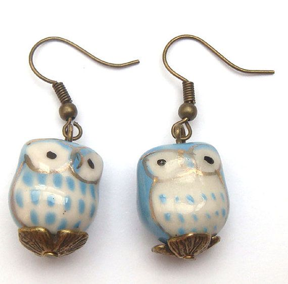 Antiqued Brass Leaf Porcelain Owl Earrings