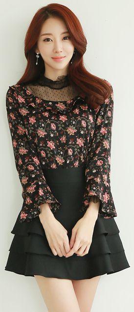StyleOnme_Three Tier Ruffle Skort #black #miniskirt #cute #sweet #feminine #koreanfashion #kstyle #spring #skirt #pants #seoul #kfashion