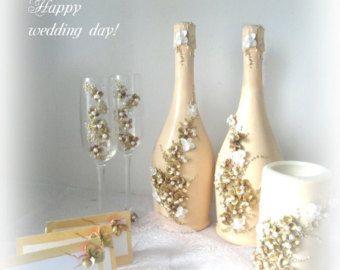 Flautas de boda champán gafas-único con por WeddingArtDecor en Etsy