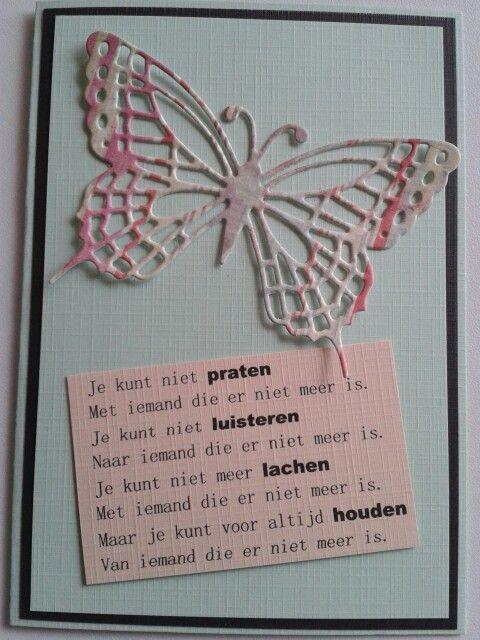 Condoleance kaart met vlinder en gedicht.