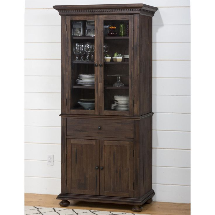 Jofran 678-98-678-99 Geneva Hills Small Space China Cabinet with Glass Doors and Shelves in Townsend Rustic Brown