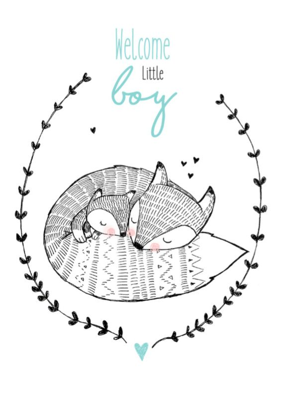 Ansichtkaart Welcome little boy Lieve ansichtkaart met vossen en tekst Welcome little boy. Illustratie Marieke ten Berge Geboorte jongen
