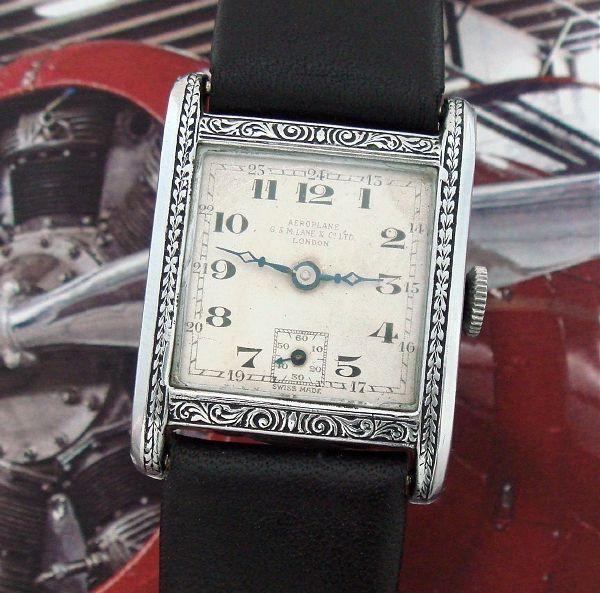 Pentru bărbați 1927 al avionului emailat încheietura ceas    Strickland Vintage ceasuri