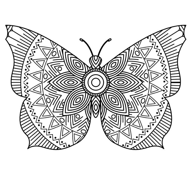Раскраски «Насекомые» - «Арт терапия бабочка» | Värityskuva