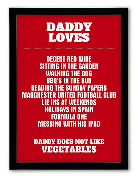 Daddy loves – We all know that Dad's love beers and sport (well most of them anyway!), but what would the list for your Dad look like? http://www.chatterboxwalls.co.uk/details.php?product=59