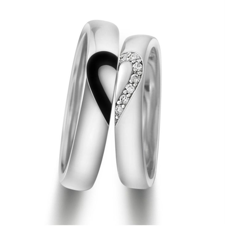 Love Heart 18K Gold Plated Sterling Silver Rings Matching Couples Promise Rings Set ,Best personalized gifts for him or her on Yoyoon.com