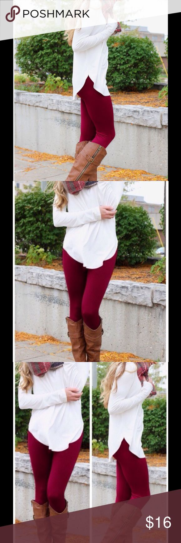 Wine Fleece Leggings Tummy Tuck Control High Waist High waist fleece leggings with tummy tuck control. Comes in Wine, Black, & Grey. Don't miss out! This listing is for Wine. View our listings for other colors. Pants Leggings