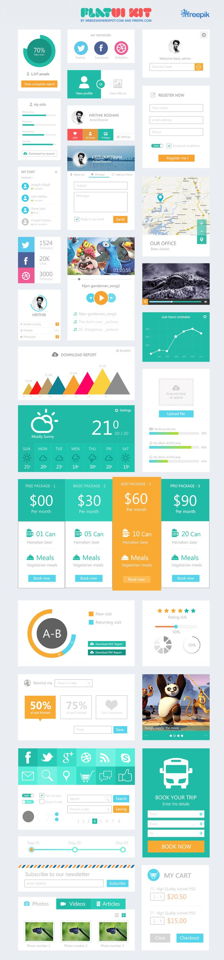 #UI #flat #design A free flat UI kit designed especially for Webdesigner Depot by Freepik. As you know, Freepik.com is a leading search engine that indexes vectors, PSDs and photos free for personal and commercial use. It's a great resource for graphic designers as their engine locates free graphic content and it displays the results in an orderly layout for easy access.