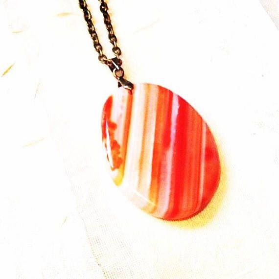 Orange Banded Agate Necklace In Bronze, Handmade Jewelry By NorthCoastCottage Jewelry Design & Vintage Treasures Orange you glad Mother Nature has such an artistic touch? This banded orange agate gemstone can be worn on either side, and both are gorgeous. With color-harmonizing