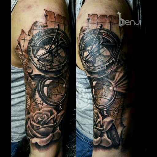 traveller tattoo old west london sundial compass and magnifying glass done at raven art. Black Bedroom Furniture Sets. Home Design Ideas