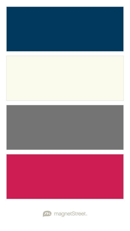 Navy, Ivory, Charcoal, and Raspberry Wedding Color Palette - custom color palette created at MagnetStreet.com