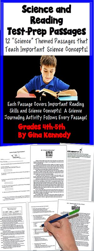 Great science and reading test-prep! 4th and 5th grade science fiction/nonfiction stories and passages that teach several different science concepts. Each story is followed up with reading test-prep style questions and writing activities! From light and sound, mass, matter, ecology, adaptations, lab safety, inherited traits and much more, this is a super way to integrate science, reading and writing. Great science and reading test prep activities!$