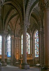 Gothic architecture - Wikipedia, the free encyclopedia. The ambulatory at the Abbey of Saint-Denis. While many secular buildings exist from the Late Middle Ages, it is in the buildings of cathedrals and great churches that Gothic architecture displays its pertinent structures  characteristics best.