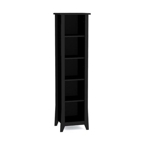 """Tuxedo 60"""" Black Slim Bookcase Black Finish by Nexera. $151.20. Sturdy engineered wood. Three adjustable shelves. Distinctive tapered legs. Rich textured lacquer finish. Nexera Tuxedo collection 60'' slim bookcase is constructed of sturdy engineered wood with a rich textured Black lacquer finish. Tuxedo is a complete collection of storage furniture and occasional tables with a sleek contemporary design for your home office or reception area.Open decorative bookcase features..."""