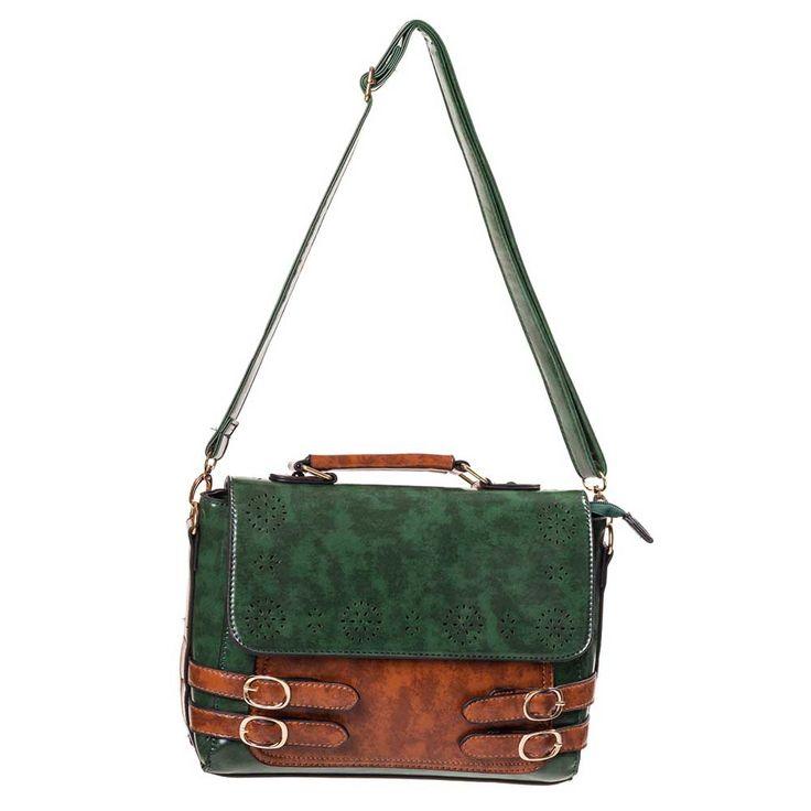 Maggie Mae retro leren schouder/handtas met gespen groen/bruin