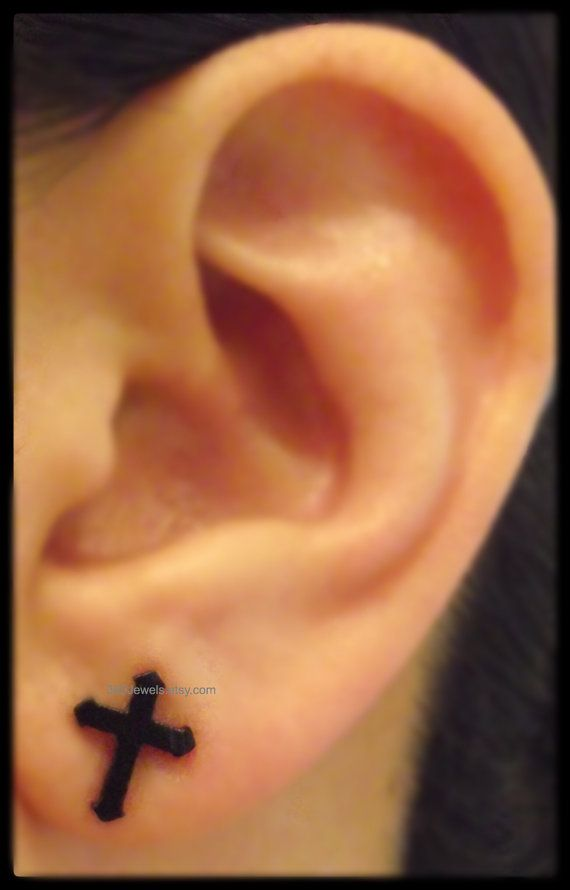 Black Cross Stud Earrings For Men Stainless Steel By 360jewels
