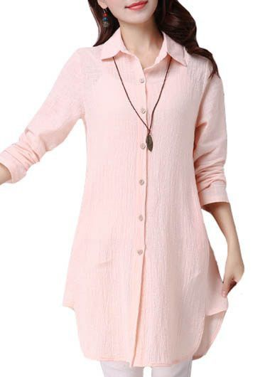 Asymmetric Hem Cowl Neck Long Sleeve Pink Blouse on sale only US$34.42 now, buy at lulugal.com
