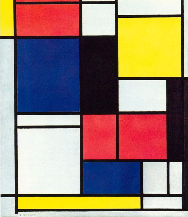 Mondriaan streefde naar de meest pure vorm van schilderkunst, waarbij het er uitsluitend om ging evenwichtig gebruik te maken van de beeldaspecten, en waarbij de voorstelling teruggebracht werd tot zijn meest zuivere verschijningsvorm.  Om elke associatie met de waarneembare werkelijkheid te voorkomen, paste Mondriaan vanaf 1917 alleen nog de primaire kleuren toe, aangevuld met 'kleurloos´ grijs, wit en zwart, en rangschikte hij vlakken en/of lijnen op horizontale en verticale…
