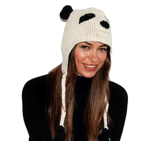 Cappello panda in lana