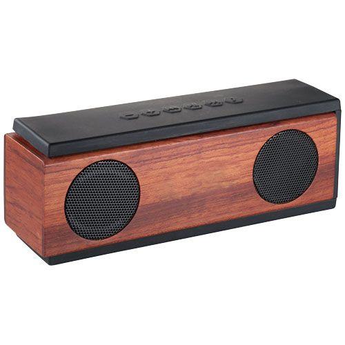 Speaker Bluetooth® in legno Native. Uno speaker dal design esclusico con due uscite speaker da 3W per una qualità del suono superiore. Controller per la musica interegrato sullo speaker per rispondere alle telefonate o cambiare canzone. Include un cavo di ricarica USB e micro USB e un ulteriore cavo da 3,5mm. Fornito in confezione regalo. Plastica ABS e legno.