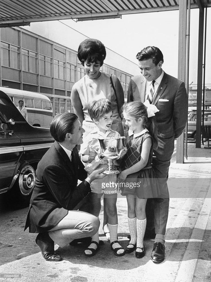 Sport, Motor Racing, London Airport, England, June 1966, Bette Hill and children Damon and Brigitte were on hand to greet husband and father Graham as he arrived back from the USA, Grand Prix driver Graham Hill had just won the Indianapolis 500 race in a Lola Ford and with him was second placed Jim Clark