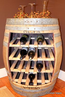 wine barrel wine rack! choose the stain, paint, rack for glasses, shelves, etc  DON'T THINK A BOX FITS haha