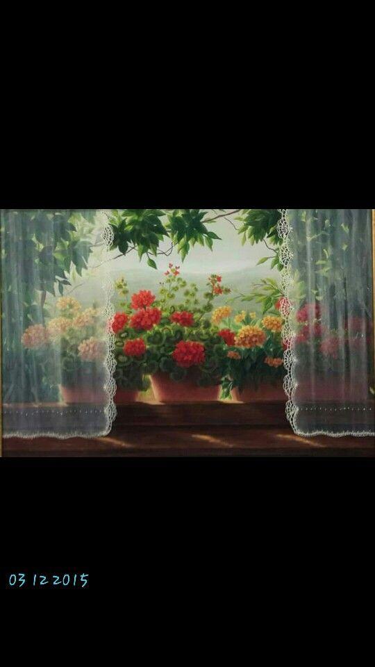 Windows #flowers#curtains#artist Günseli kapucu#