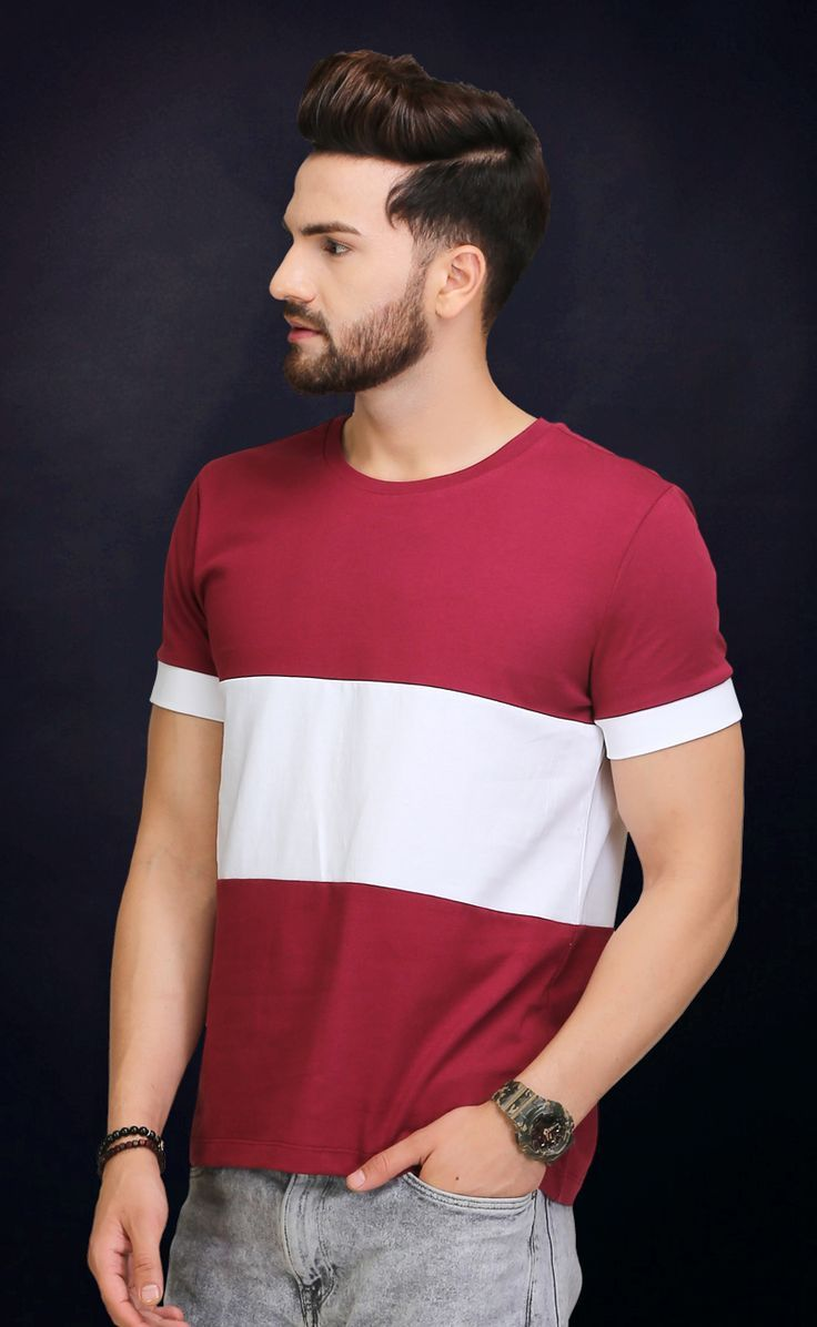 78c1443ec6da Maroon And White Round Neck T Shirt in 2019